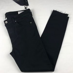 Rag & Bone Ankle Skinny Jeans, Black, Raw Hem, 32